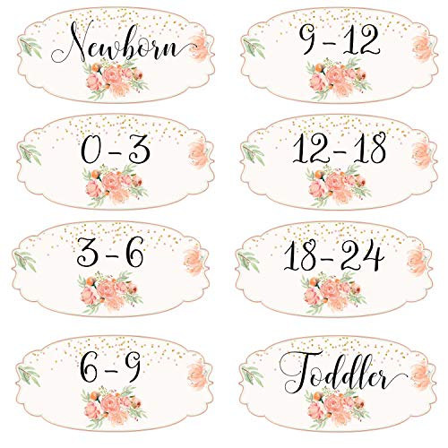 Mumsy Goose Girl Nursery Drawer Labels Peach Floral Baby Clothes Organizers Gold Mint Dresser Stickers