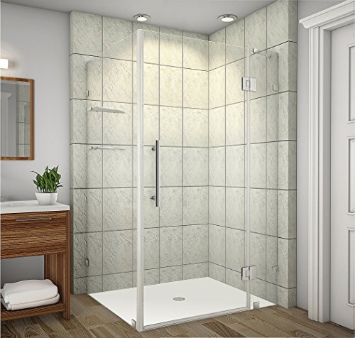 Aston Avalux GS Completely Frameless Shower Enclosure with Glass Shelves, 48' x 36' x 72', Brushed Stainless Steel