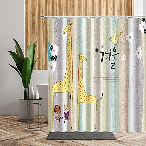 Duschvorhang Gelbgrüne Giraffe Shower Curtains Polyester Textil Duschvorhänge Wasserabweisend Antischimmel Shower Curtain Badewanne Anti-Bakteriell Mit 12 Duschvorhangringen 150x180cm
