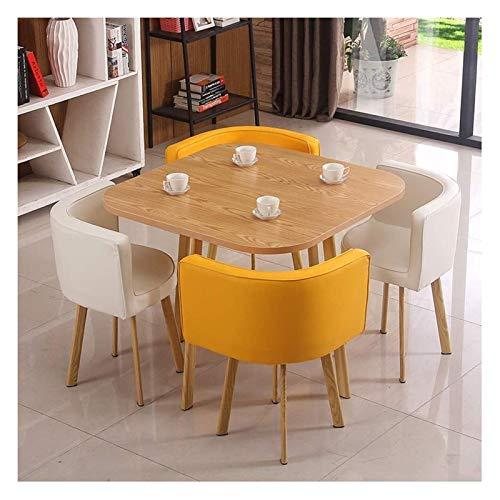 WANGQW Esstisch Set für Küche oder Hoteldekor, Kaffee-Tee-Tisch und Stühle Büro Rezeption Schreibtisch und Stuhl Kombination Tisch und Vier Stühle Nordic Moderne Round Table (Color : Yellow+White)