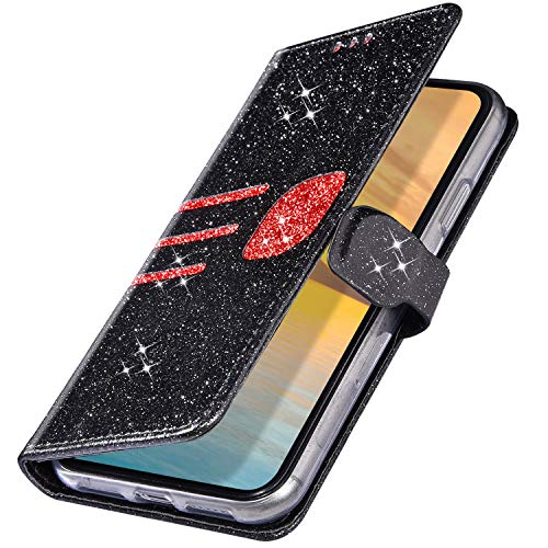 MoreChioce Coque Galaxy J5 2017,compatible avec Coque Samsung Galaxy J530 Portefeuille Strass,Coloré Noir Glitter Brillant Etui en Cuir Clapet Case Housse à Rabat Magnétique Aimantée Supporter