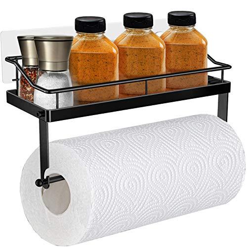 Oriware Adhesivo Portarrollos de Cocina con Estante Soportes de pared Especiero Organizador SUS304 Acero Inoxidable Sin Perforar - Negro