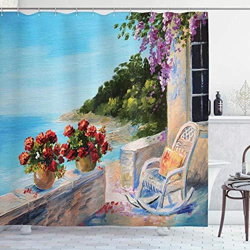 N / A Decoración de la casa del Lago Vista al mar Desde un balcón con una cómoda Mecedora y...