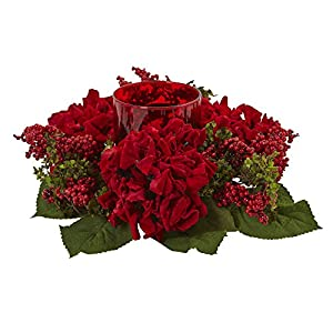 Nearly Natural Hydrangea & Berry Candelabrum Decor, Red