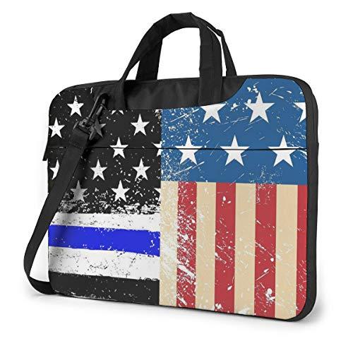Blue Line American Flag Laptop Bag Shockproof Briefcase Tablet Carry Handbag for Business Trip Office 15.6 inch