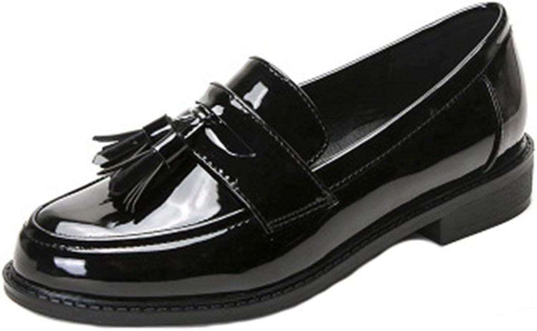 Fashion shoesbox Women's Vintage Oxfords Wingtips Slip-On Tassel Casual Low Flat Comfort Dress Loafer shoes