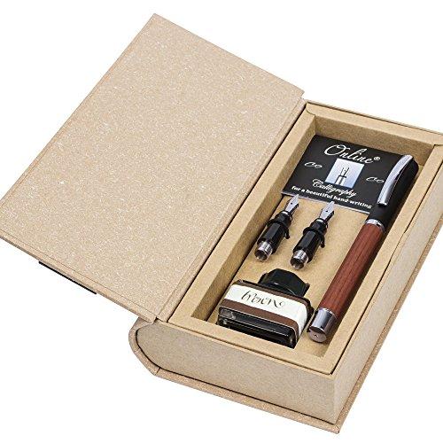 ONLINE Kalligrafie-Set Vision Nature Rosewood, Füller mit 3 Kalligraphie-Federn Breite 0.8, 1.4, 1.8 mm, inklusive Tintenglas braun, in edler Geschenk-Box, Schönschreib-Füller Holz