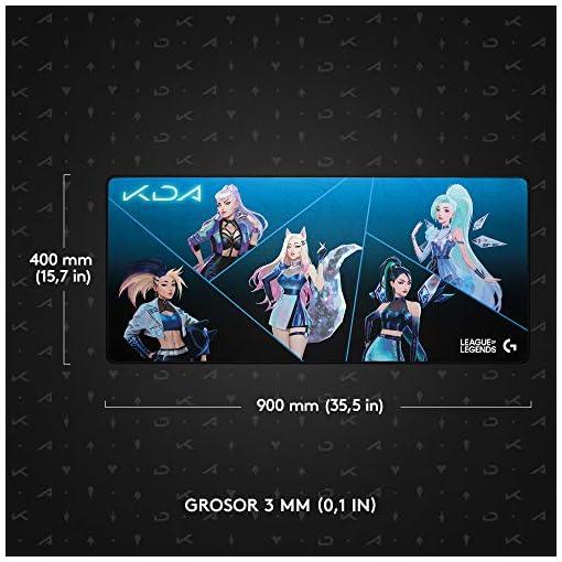 Logitech G840 K/DA XL Alfombrilla de ratón para Gaming, 3 mm de Grosor, Base de Goma Estable, Equipo de Juego Oficial de… 4