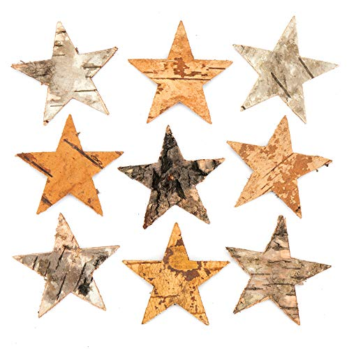 Baker Ross Baumrinden-Sterne – Kreatives Bastelmaterial für Kinder für Bastelarbeiten und Dekorationen (30 Stück)