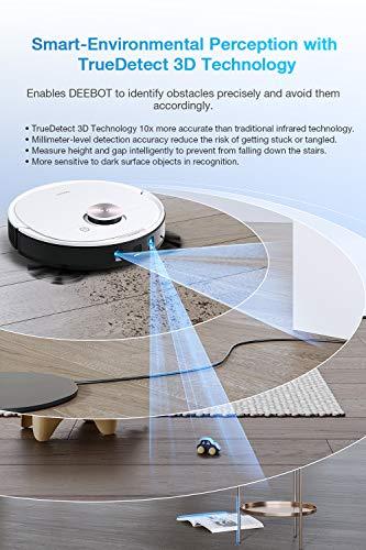 ECOVACS DEEBOT OZMO T8 Robot aspirateur 2 en 1 avec Fonction de Balayage et de Navigation Intelligente – Google Home, Alexa et App. Blanc.
