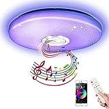 Plafón LED Music con altavoz, WingSin Regulable 18w 6000LM Plafón LED que cambia de color blanco cálido con mando a distancia para baño, habitación infantil
