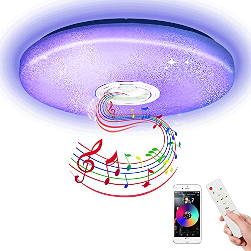 LED Music Deckenleuchte mit Bluetooth Lautsprecher, Led Lampe RGB Dimmbar 36w Warmweiße Lampen Mit Fernbedienung & APP-Steuerung, Deckenlampe für Kinderzimmer, Wohnzimmer, Bad [Energieklasse A+]