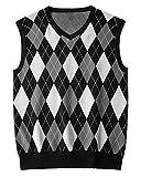 Karlywindow Mens Argyle Sweater Vests Rhombus Sleeveless V-Neck Knit Pullover Vest Grey