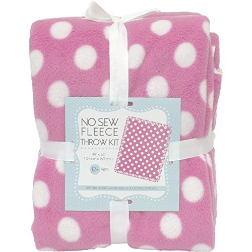 Dots On Pink No-Sew Throw Anti-Pill Fleece Fabric Kit (50x60)
