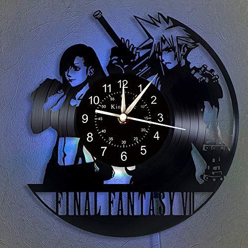 """Horloge Murale Disque Vinyle Final Fantasy LED 12 """"Vinyle CD Horloge Quartz   Décoration Intérieure Fait Main   Horloge Murale Lumineuse 7 Couleurs   Cadeaux Créatifs pour Amis et Enfants."""