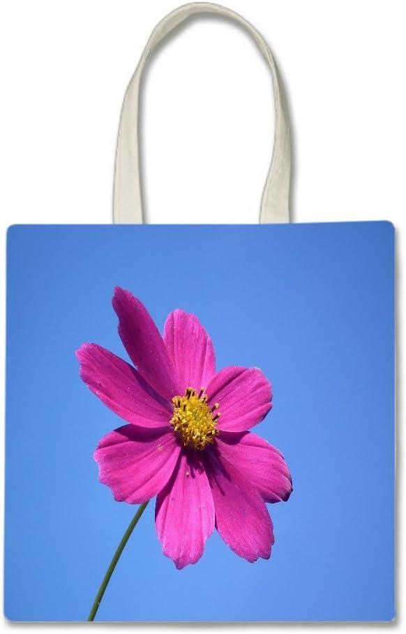 Pink Flower Blue Summer Spring Sky Printed Tote Bag, 14.5x15