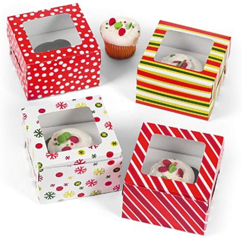 Bright Christmas Cupcake Boxes 1 Dz