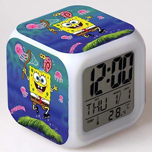 Reloj Despertador Digital Ocean Baby Reloj Despertador Iluminado Para Niños 7 Colores Led Luz De Noche Reloj Despertador Para Niños Cumpleaños/Navidad El Mejor Regalo(8 * 8 * 8cm) 2
