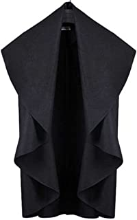 Bestdress Women's Solid Sleeveless Irregular Cape Coat