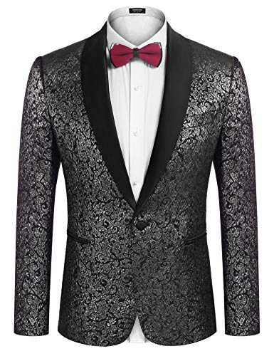 COOFANDY Men's Floral Suit Jacket One Button Stylish Jacquard Dinner Jacket Tuxedo Blazer for Wedding,Party,Prom Silver