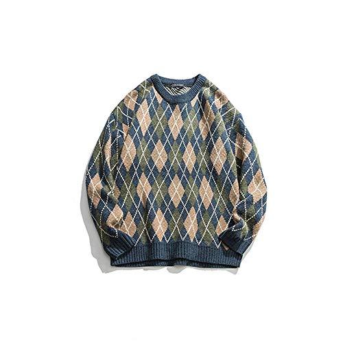 XMYNB Nueva Calle Moda Marca Color Plaid Casual Suéter Hombres Y Mujeres Cuello Redondo Jersey Suéter Chaqueta Deportes Y Ocio