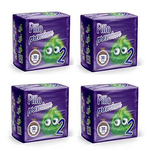 PILLO Premium Mini, Taglia 2 (3-6 Kg), 4 Pacchi da 30 (120 Pannolini Bimbo)