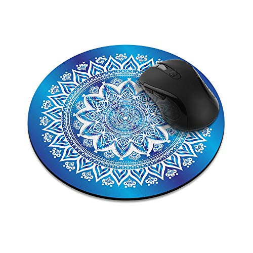 Non-Slip Round Mousepad, WIRESTER Blue & White Mandala Mouse Pad for Home, Office and Gaming Desk
