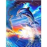 5D DIY diamante pintura delfín buceo cuadro redondo diamante mosaico...
