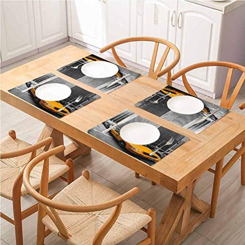 FloraGrantnan Lot de 8 sets de table rectangulaires lavables Motif cabine jaune ville à New York