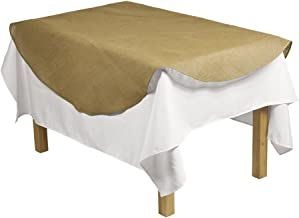 LinenTablecloth Round Burlap Table Overlay, 60-Inch