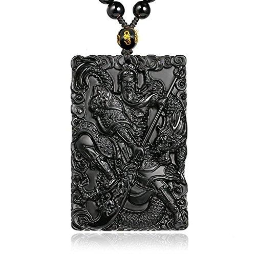 yigedan Superb reinen, natürlichen Obsidian Drache Guan Gong nehmen ein Messer Anhänger Halskette