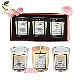 Set di Candele profumate 3 Pezzi Fragranze Candele Bruciare per 20 Ore Fragranza Candele alla rosa Set di candele per Donna Alleviare Stress e Aromaterapia Regalo Adatto per Matrimonio, Bagno, Yoga