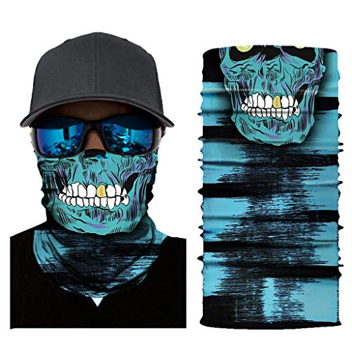 Stoota Skull Print Face Mask, Rave Bandana, Neck Gaiter, Scarf, Summer Balaclava for Dust Wind UV Protection -  -  10W x 20L
