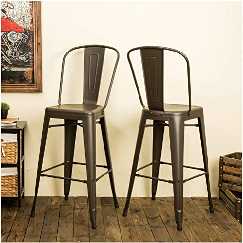 Glitzhome Rustic Metal Bar Stools for Dining Room Height Dining Chairs with Backrest Industrial Counter Stool Set of 2, Cafe
