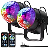 YAZEKY Party Lights Magic Lamp Remote Control Sound Activated RGB Disco Lights Disco Lamp Stage Lights Rotating Disco Ball for KTV, DJ, Party, Disco, Christmas, Bar, etc UK Plug- 2 Pack