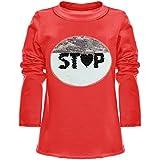 BEZLIT Mädchen Wende-Pailletten Long Shirt Bluse Langarm Sweat Shirt 21008 Rot Größe 116