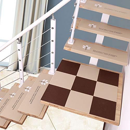 Tappetini per Scale per tappeti per Scale Luminosi da 5 Pezzi, tappetini Antiscivolo per Protezioni per Scale, tappetini per Scale anticaduta, Beige 70 * 21,5 * 4 cm,Beige~A-L