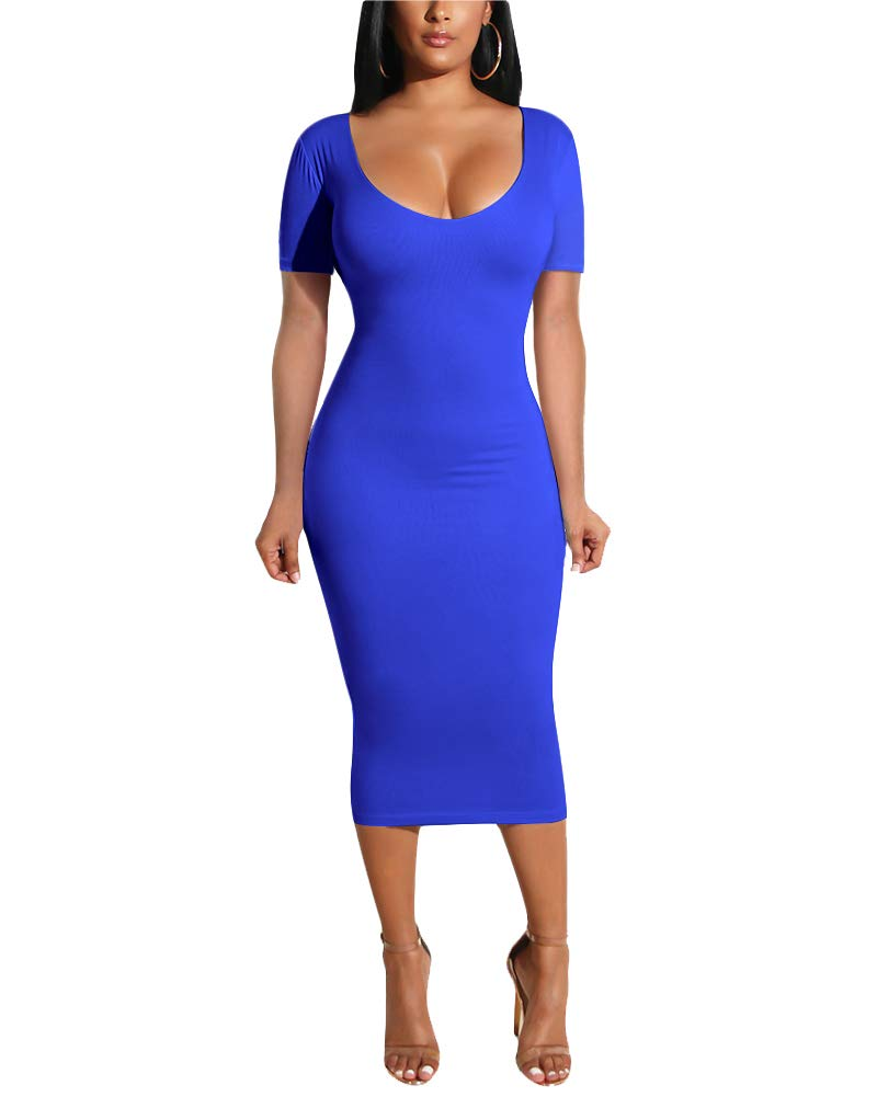 Available at Amazon: Choichic Women's Bodycon Midi Dresses - Elegant Summer Hollow Out Scoop Neck Short Sleeve Slim Dress