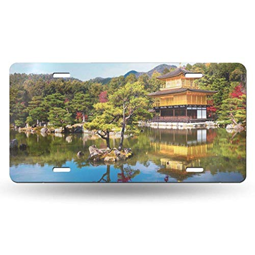 BRIGHT JUNAY Cool Metal License Plate,Japanese Temple The Golden Pavilion in Kyoto Japan Autumn Car Front License Plate 6 Inch X 12 Inch