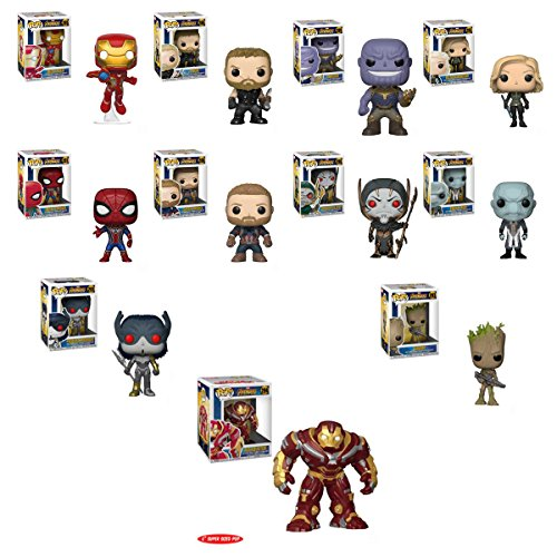 "Pop Marvel - Avengers: Infinity War - Iron Man, Thor, Iron Spider, Captain America, Thanos, Black Widow, Corvus Glaive, Ebony Maw, Proxima Midnight, Groot and HulkBuster 6"" Vinyl Figures Set image"