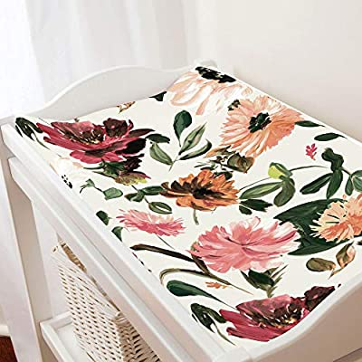 Carousel Designs Moody Floral Changing Pad Cover - Organic 100% Cotton Change Pad Cover - Made in The USA