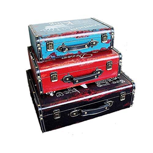 Set de 3 Trinket ou mémoire Box Treasure Chest Organisateur Pirate en Bois Bijoux boîte de Rangement Antique Style Vintage de Coffre (Couleur : Tricolor, Taille : Large+Middle+Small)