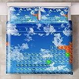 GJKIEB Funda de Almohada Tabla de Ciclo de Elemento Naranja Verde Creativo Juego de Cama de 260cmx220cm Funda nórdica Antiarrugas fácil Cuidado 2 X FundasdeAlmohada 50x75cm.