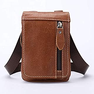 FYXKGLan Men's Retro Fanny Pack Genuine Leather Men's Small Bag (Color : Brown)