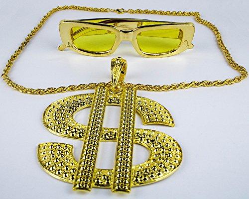 Panelize® Proll Lude Macho Proleth Angeber Hip Hop Rapper Bonzen Set - Riesen Dollarkette und Brille