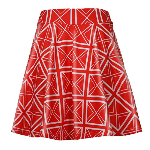 Toamen Women Basic Versatile Stretchy Flared Casual Mini Skater Skirt Pleated Swing Skirts for Tea Party Cocktail(#2 Red,XL)