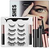Kuaima Magnetic Eyelashes With Eyeliner Kit Natural Look & Reusable False Eyelashes No Glue Magnetic Eyeliners (5 Pairs Kit)