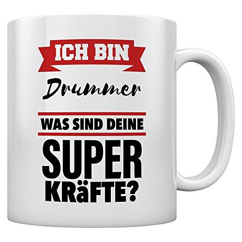 Geschenkidee für Drummer Was sind deine Superkräfte Kaffeetasse Tee Tasse Becher 11 Oz. Weiß