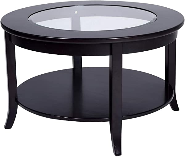 Phoenix Home Coventry Round Wood Coffee Table With Glass Inlay Earthy Espresso