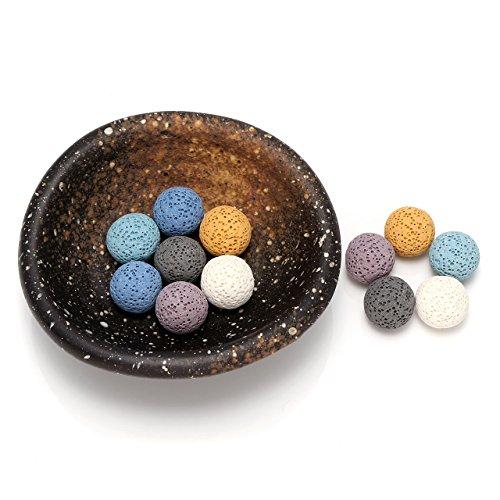 QGEM Formlos Ellipse Keramik Tablett Vintage Aromatherapie Tablett Deko für Yoga Salon Wohn-, Schlaf-, Bade- oder Kinderzimmer Hotel(Tablett+12*Lavastein Kugel)